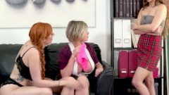 Teen Caught In Teachers Lounge By 2 MILFs & Gets Schooled- Girlsway