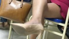 High Heels In Study Hall Candid