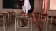 Educator Humping The Corner Of The Desk In The Lecture Room